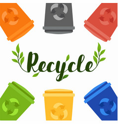 recycle concept with colorful trash bins vector image