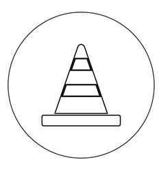 road cone icon black color in circle isolated vector image
