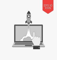 Rocket launch from laptop icon startup concept vector image