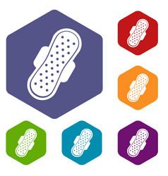 sanitary napkin icons set hexagon vector image