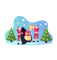 santa claus in red costume taking gift boxes from vector image