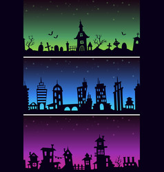 seamless night backgrounds set scary vector image