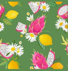 Seamless pattern with dragon fruits pitaya lemon vector