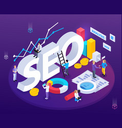 Seo analysis isometric composition vector
