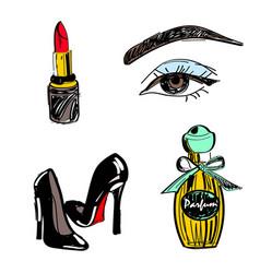 set lipstick eyes vector image
