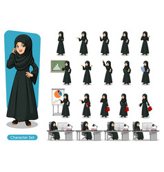 Set of arab businesswoman in black dress vector