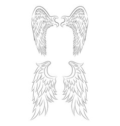 Set of different contour drawing of an angel wings vector