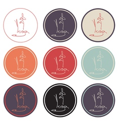 Set of yoga icon logo vector