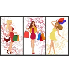 Shopping girl banner vector image