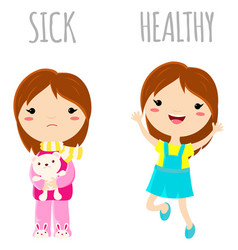Sick sad little girl and cheerful healthy jumping vector