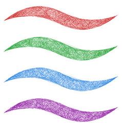 Sketch wave line design element set vector image
