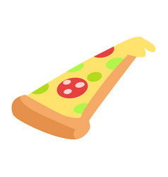Slice of hand drawn appetizing pepperoni pizza vector