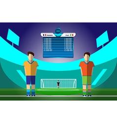 Soccer players on football stadium vector image