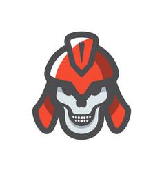 spartan warrior skull icon cartoon vector image