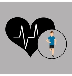 Sport man running monitoring heart vector