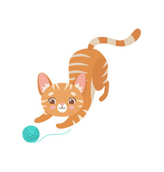 Striped funny red cat playing with ball of yarn vector