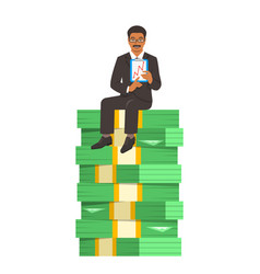 Successful businessman sitting on a stack of money vector