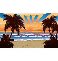 Sunset on beach with palms vector