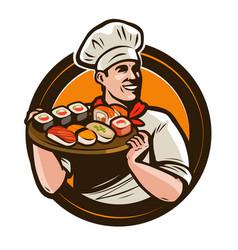 sushi food logo or label seafood restaurant vector image