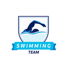 swimming team logo swimmer silhouette in vector image