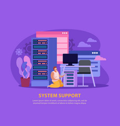 System administrator flat background vector