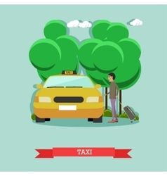 taxi and passenger in flat vector image