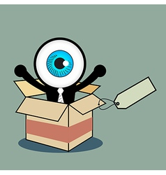 The blue eye happy in gift box vector image