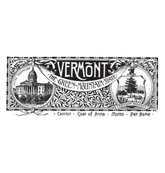 The state banner of vermont the green mountain vector