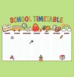 Timetable for school vector