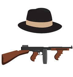 Tommy gun and fedora hat vector image