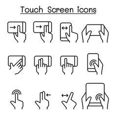 touch screen icon set in thin line style vector image