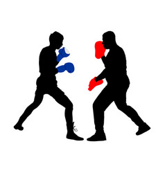 Trainer and boxer sparring fighting silhouette vector