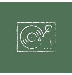 Turntable icon drawn in chalk vector