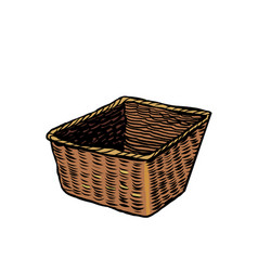 Wicker basket antique utensils vector