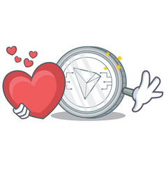 With heart tron coin character cartoon vector