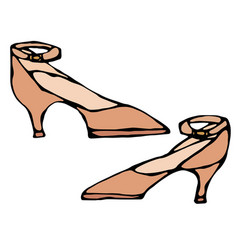 women high-heeled brown shoe with strap isolated vector image
