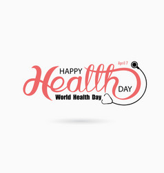world health day typographical design elements vector image