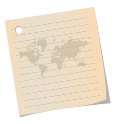 world map on old note paper and space for text vector image