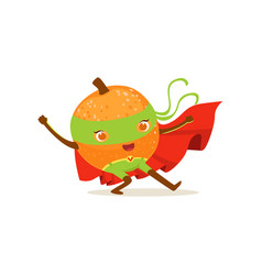 cartoon character of superhero orange with hands vector image