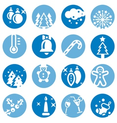 color cristmas icons set vector image
