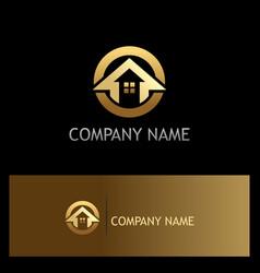 Round house arrow gold logo vector