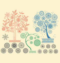 the tree patterns with the different elements vector image vector image