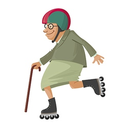 elderly woman on roller skates vector image vector image