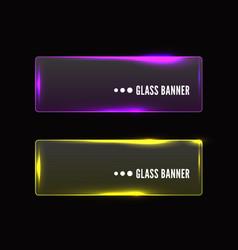 Modern transparent glass banner set vector