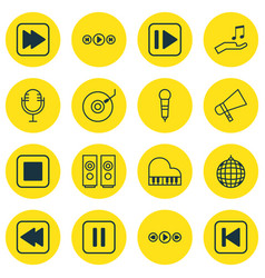set of 16 audio icons includes following song vector image