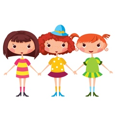 Three little girls vector image vector image