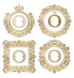 golden letter o vintage monograms set heraldic vector image vector image