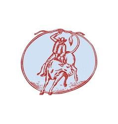 Rodeo cowboy bull riding circle etching vector