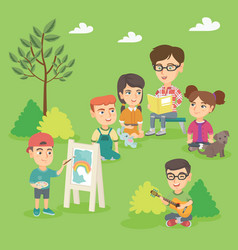 teacher reading a book to boys and girls outdoor vector image