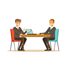 Two businessmen at a business meeting discussing vector